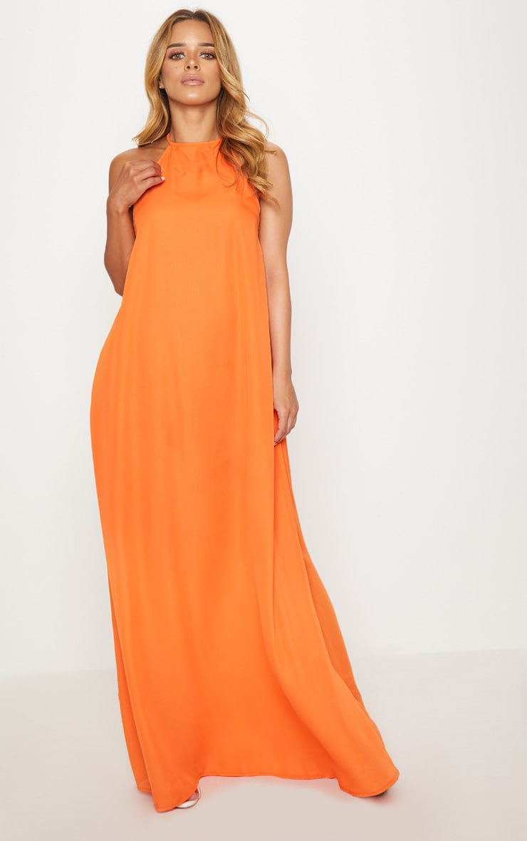 Petite Orange Halterneck Scoop Back Maxi Dress 4