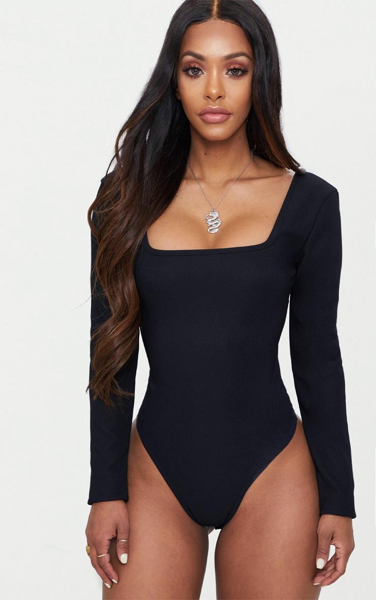 Shape Black Ribbed Square Neck Bodysuit 2