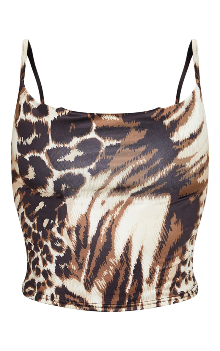 Tan Slinky Leopard Print Cami Top 5