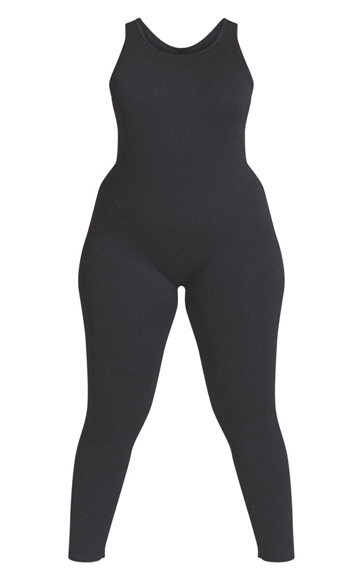 Plus Black Structured Contour Scoop Neck Jumpsuit 5