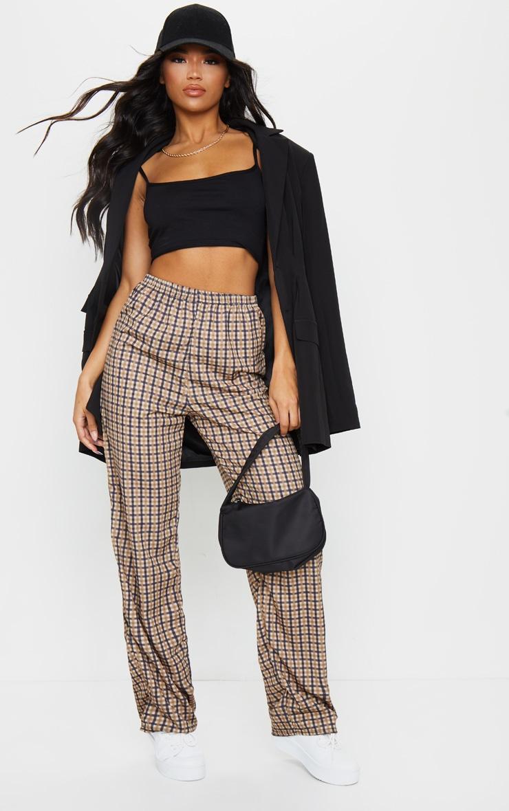Pantalon gris pierre imprimé carreaux à coupe droite 1