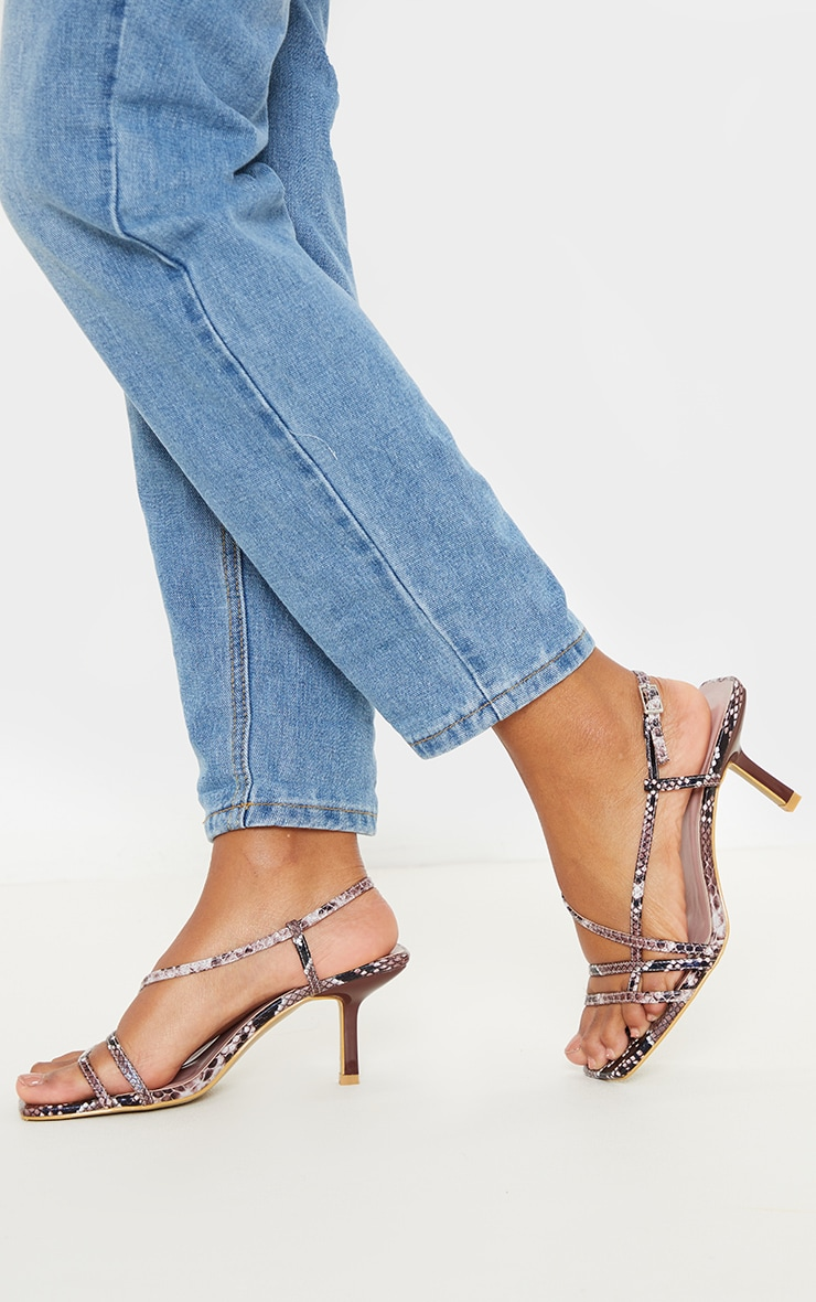 Snake Low Heel Strappy Sandal 2