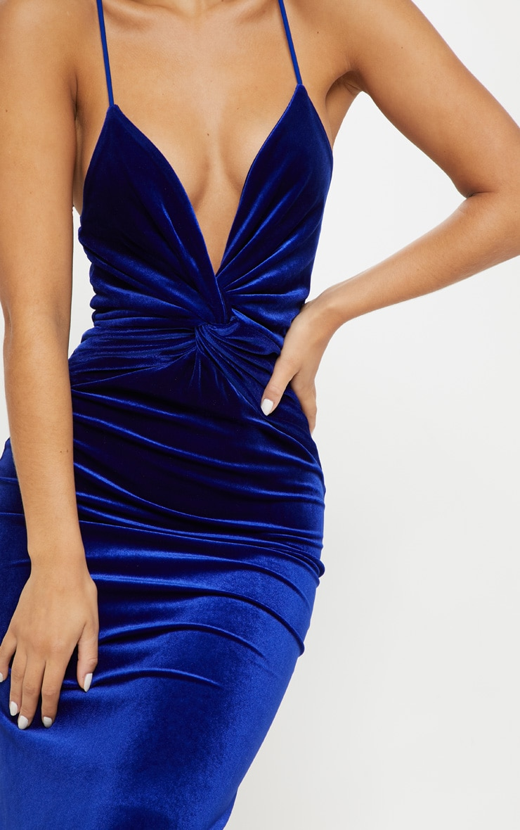 eeb60c4f0f702 Cobalt Velvet Knot Front Maxi Dress   Dresses   PrettyLittleThing