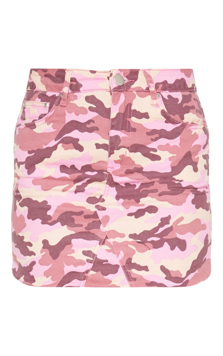 Pink Camo Denim Skirt  3