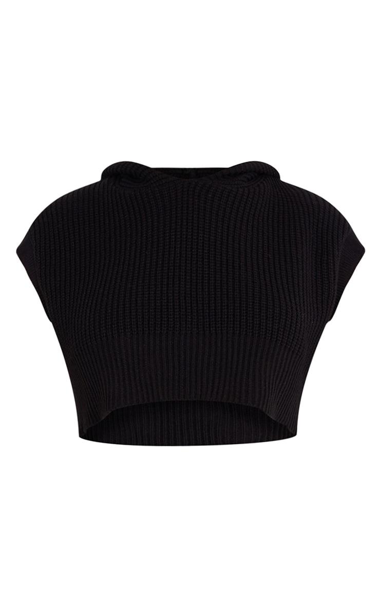 Plus Black Super Crop Knitted Sleeveless Hoodie 5