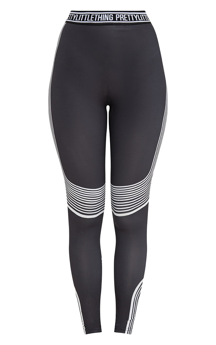 PRETTYLITTLETHING Black Contour Stripe Leggings 4