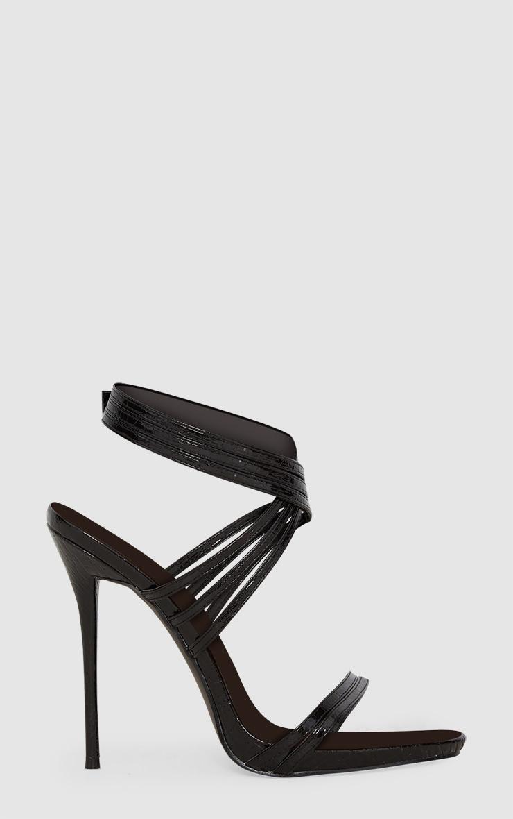 Black Multi Strap Stiletto Heels 3