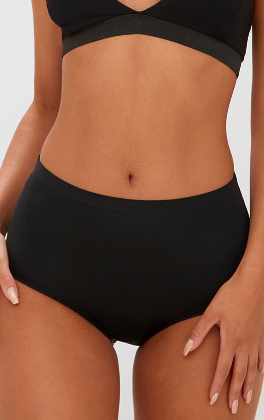 Black NO VPL Invisible High Waisted Knickers 1