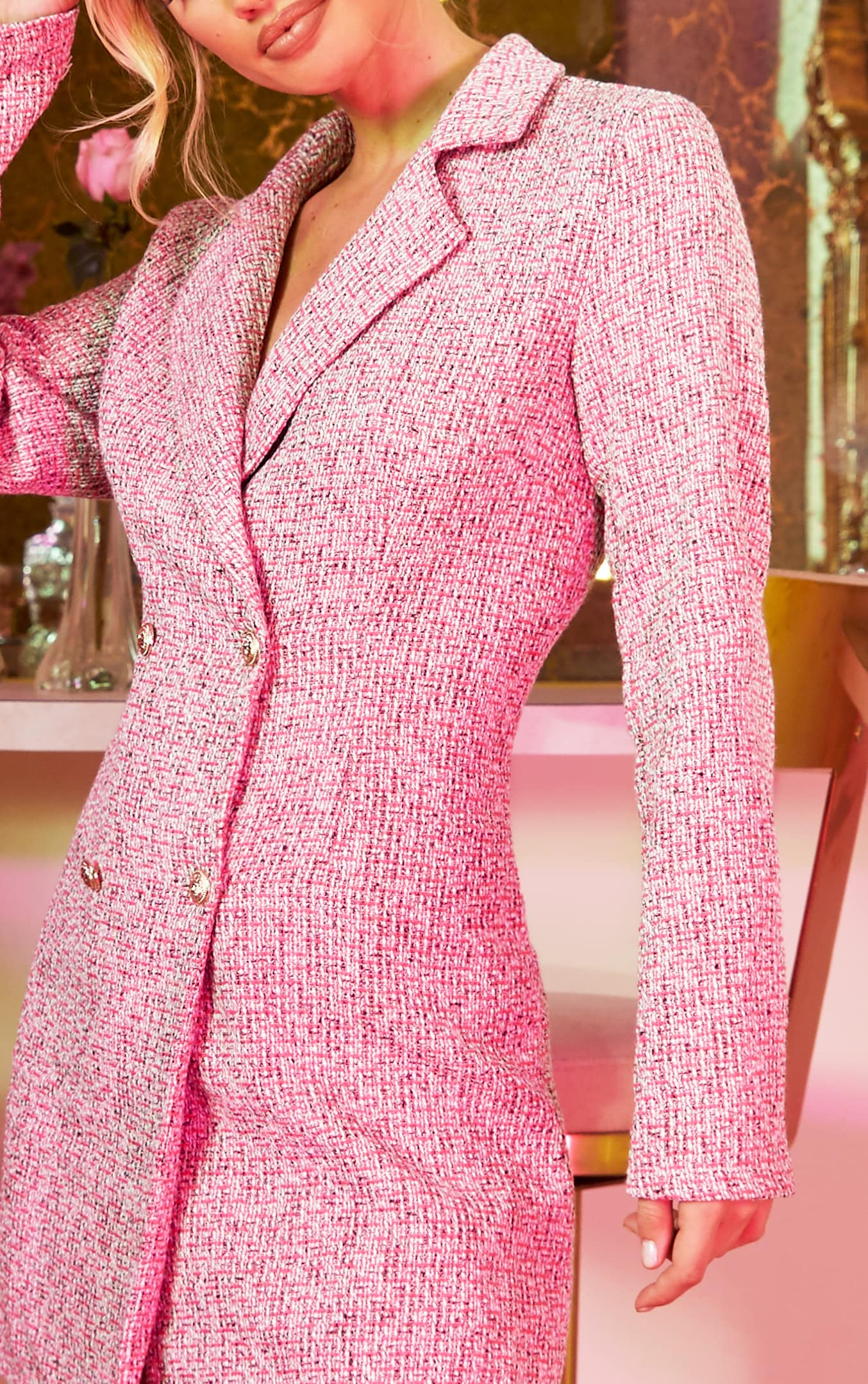 Pink Tweed Gold Button Blazer Dress 6