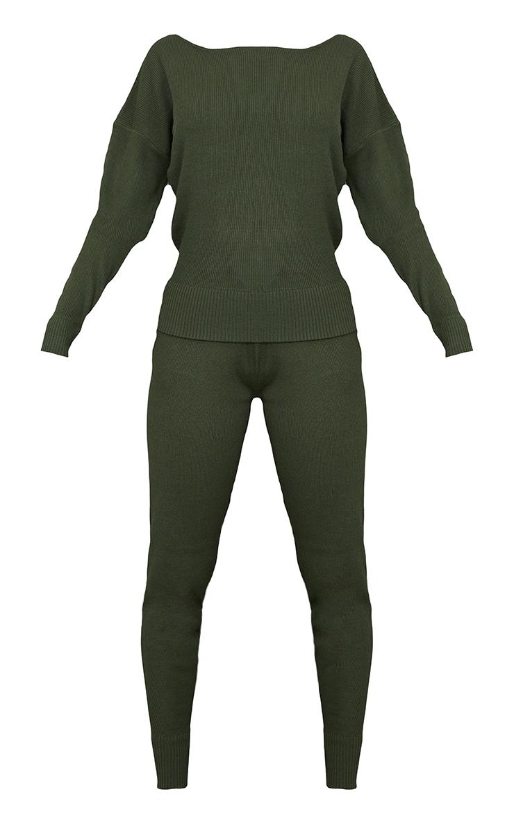 Auriel Khaki Sweat Pants Sweater Knitted Lounge Set 5