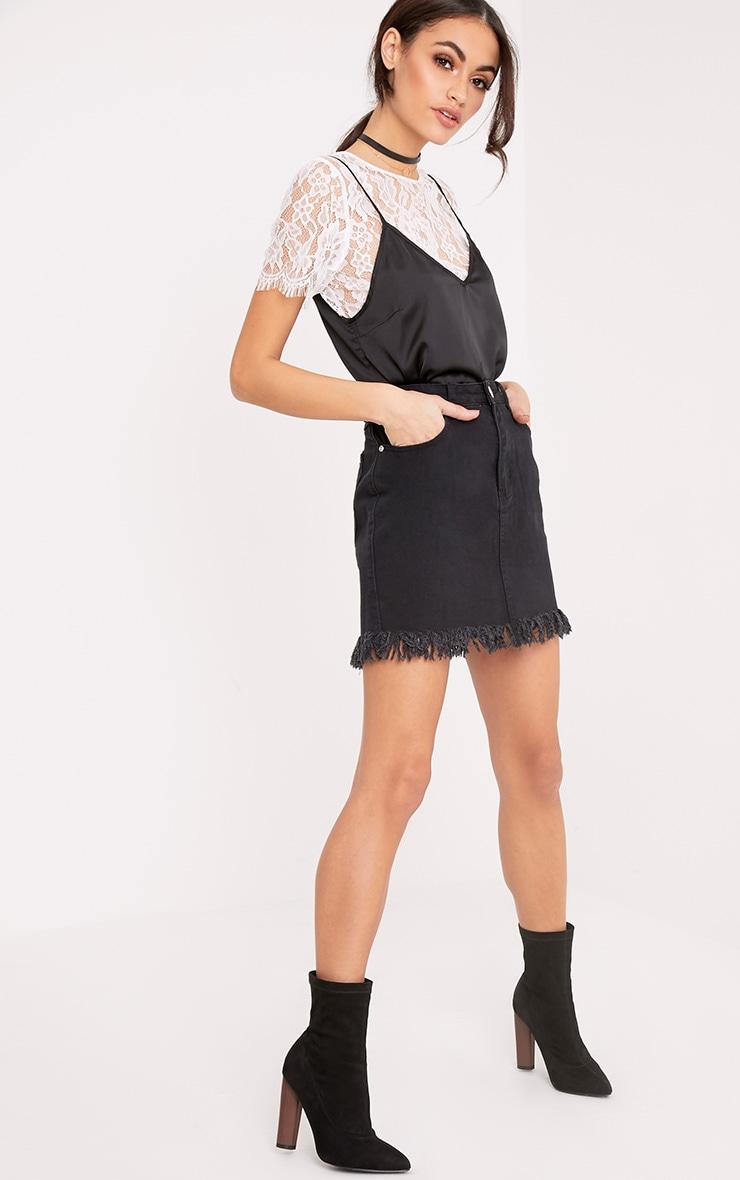 Jasminda minijupe en jean noire à ourlet à franges 2