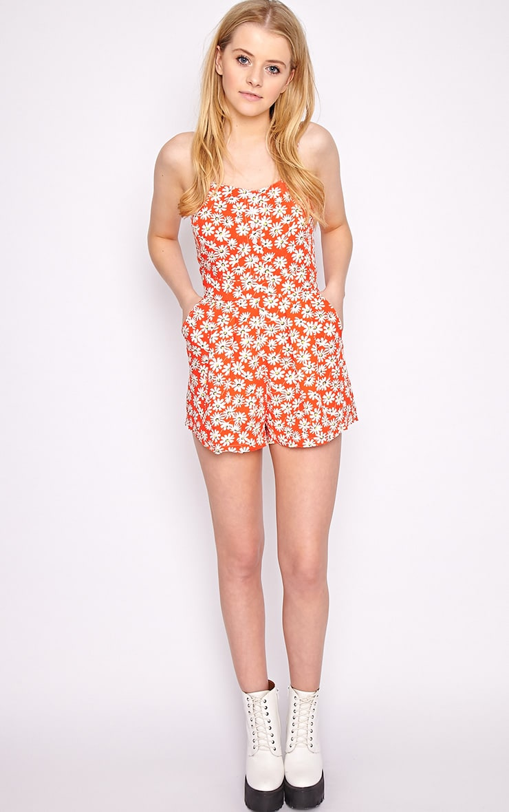 Charlie Red Floral Playsuit 3