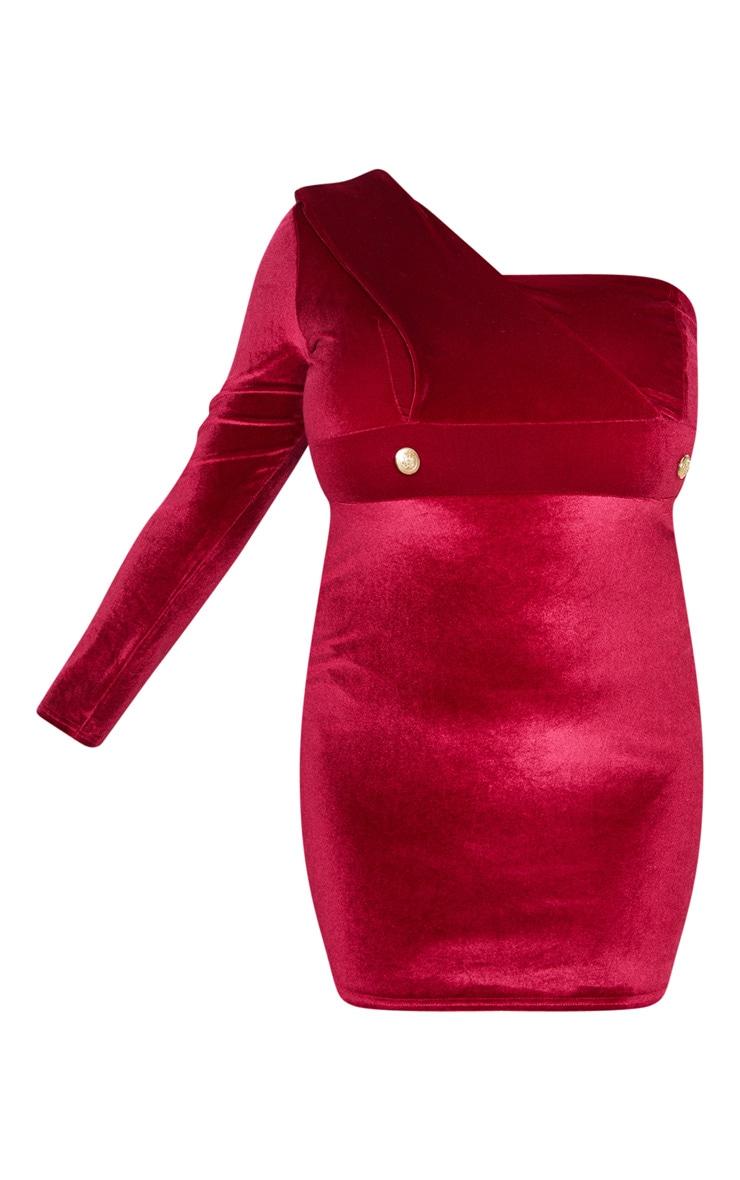 Plus Burgundy Velvet One Shoulder Blazer Dress 3