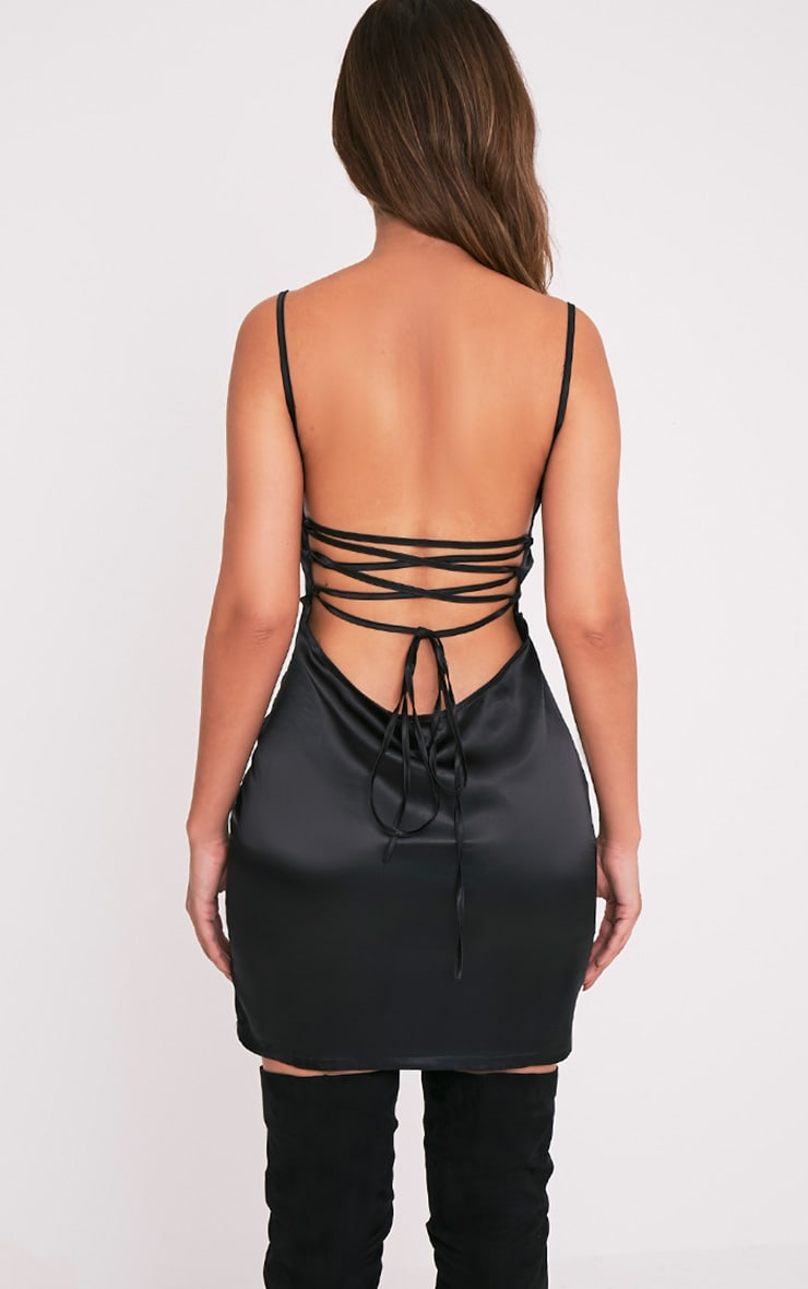 Sarna Black Tie Back Silky Slip Dress 2