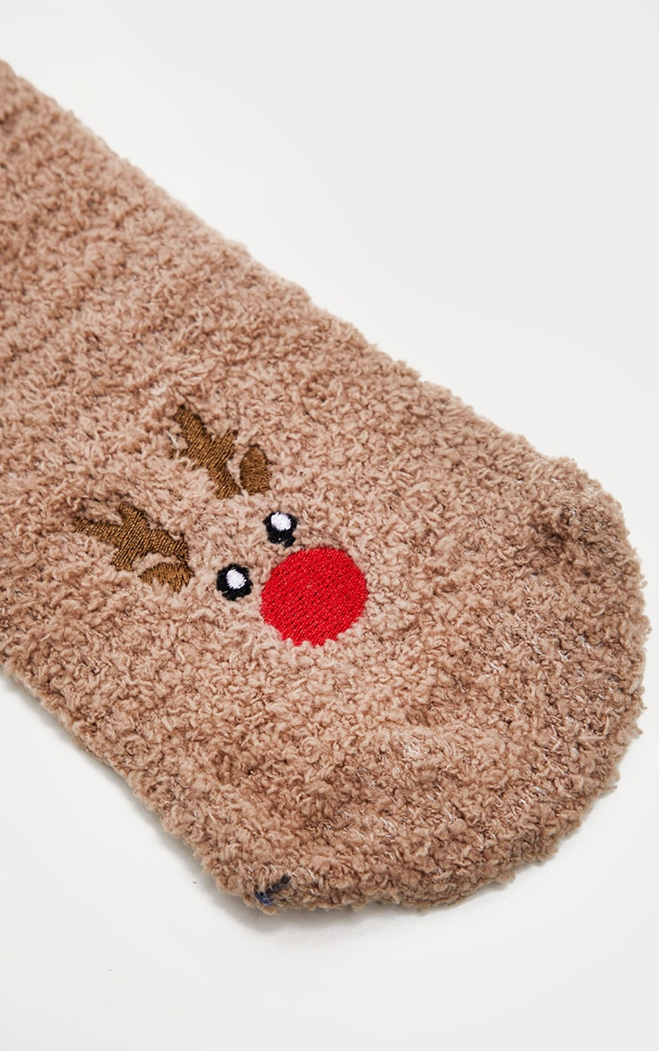 Brown Reindeer Fluffy Socks 3