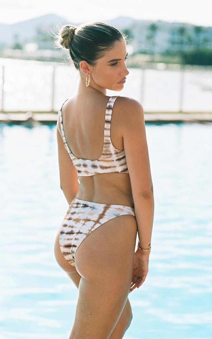 Nude Ribbed Tie Dye High Leg Bikini Bottoms 2