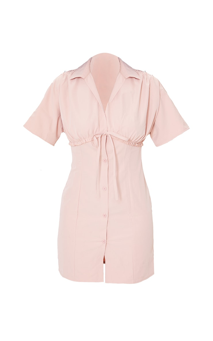 Blush Woven Ruched Tie Detail Short Sleeve Shift Dress 5