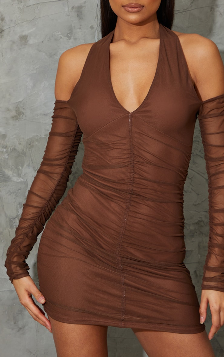 Chocolate Halterneck Long Sleeve Mesh Ruched Bodycon Dress 4