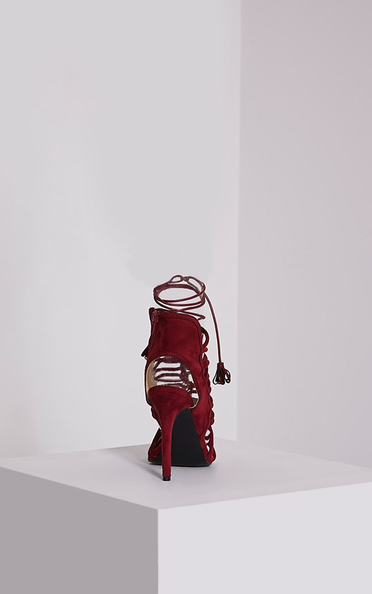 Angelina Bordeaux Strappy Detail Heeled Shoes 4