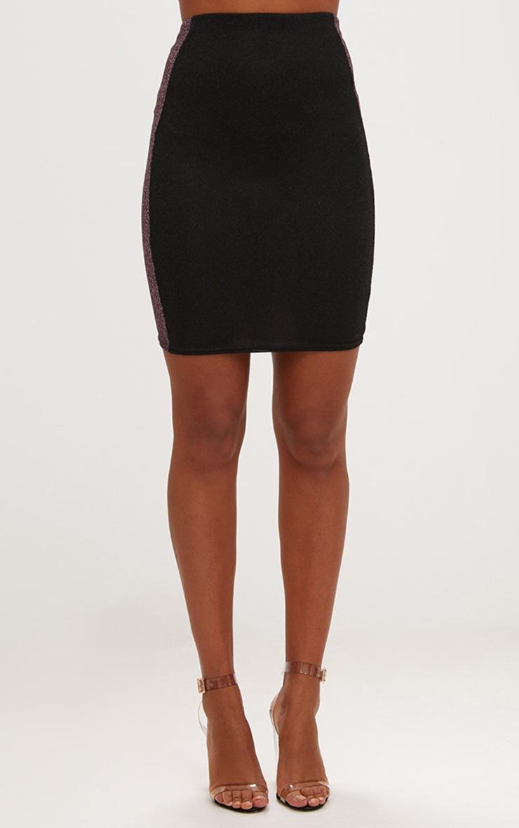 Black Metallic Contrast Panel High Waisted Mini Skirt 2