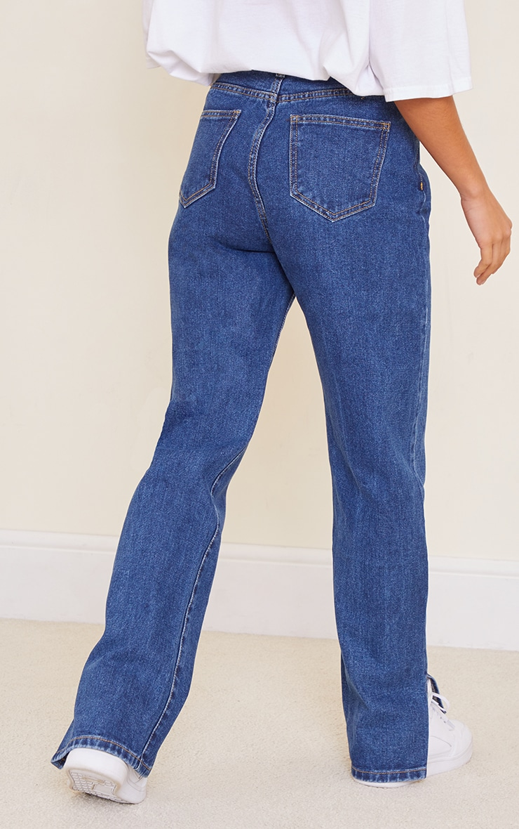 Petite Dark Blue Wash Split Hem Jeans 3