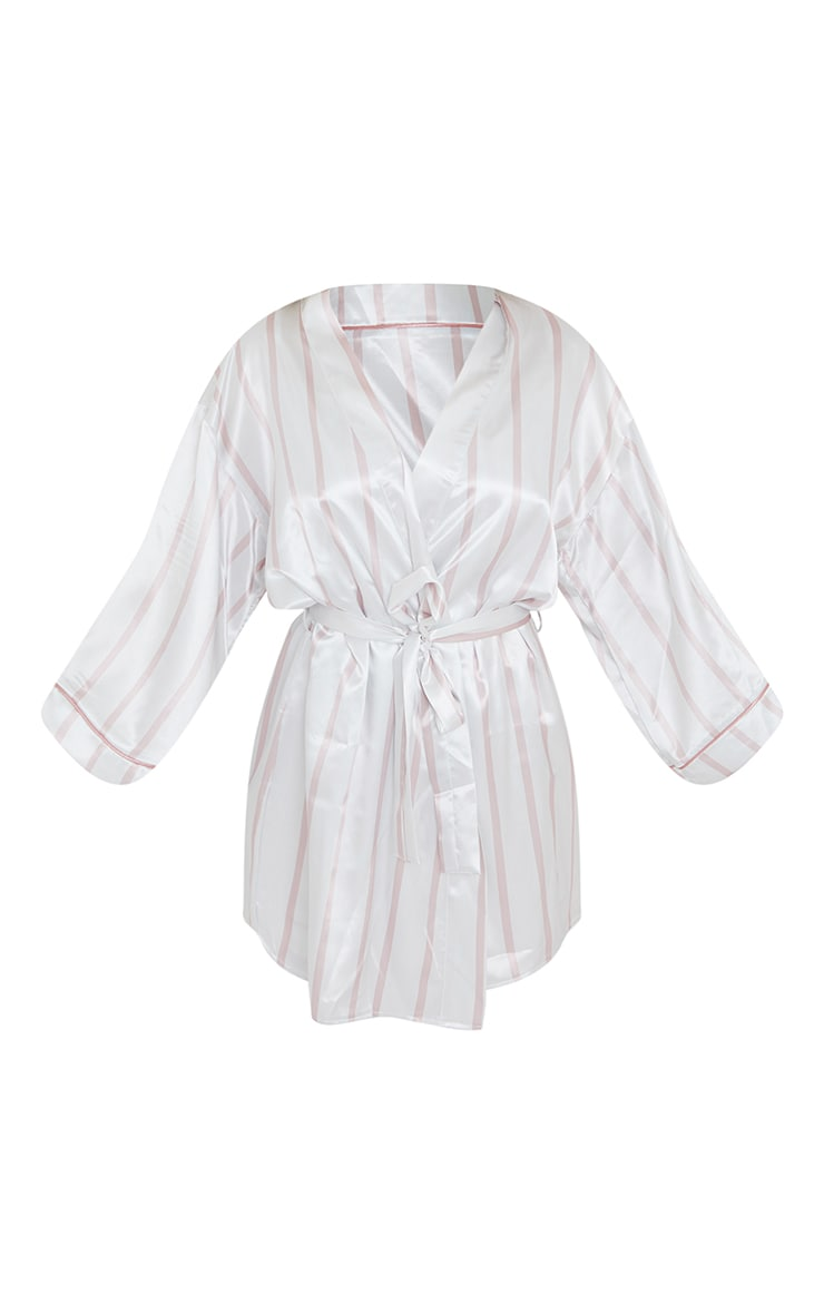 Pale Pink Stripe Mix And Match Satin Robe 5
