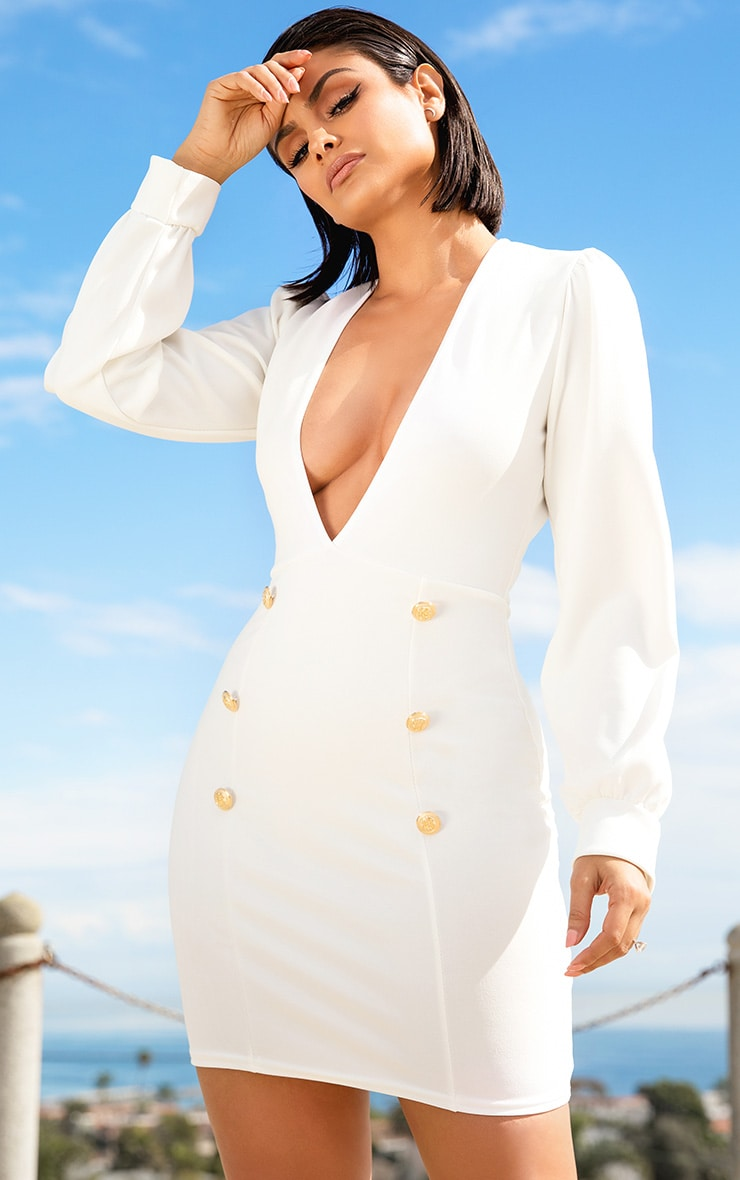White Plunge Tux Bodycon Dress  1