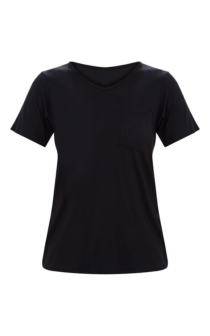 Basic Black V Neck Pocket T Shirt 3