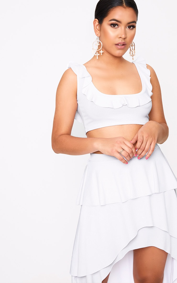 White Frill Low Scoop Crop Top 1