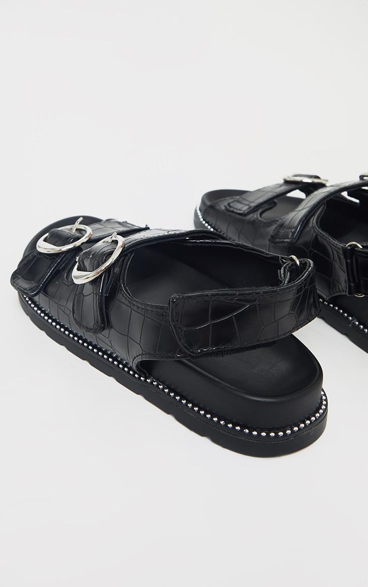 Black Double Croc Round Buckle Detail Sandals 4