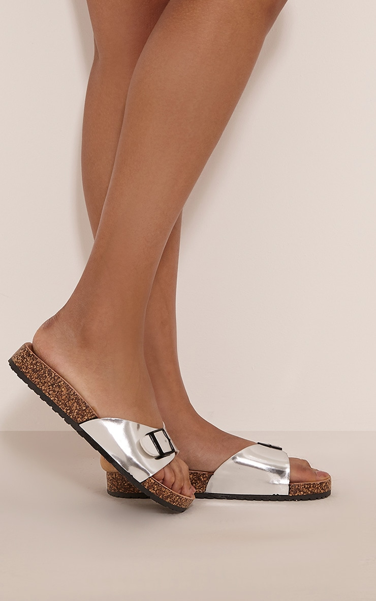 Liliy Silver Metallic Slip On Sandals 2