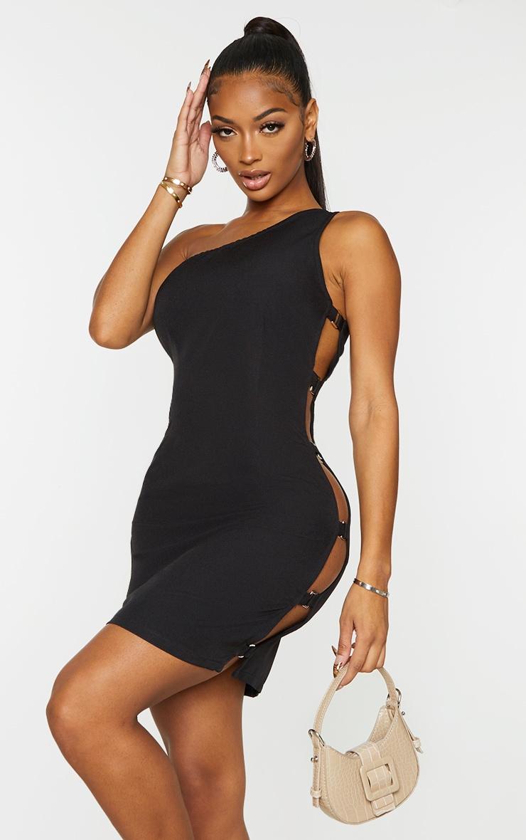 Shape Black Woven One Shoulder Buckle Detail Bodycon Dress 1