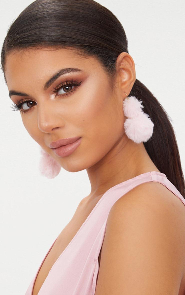 Pink Fluffy Pom Pom Drop Earrings 1