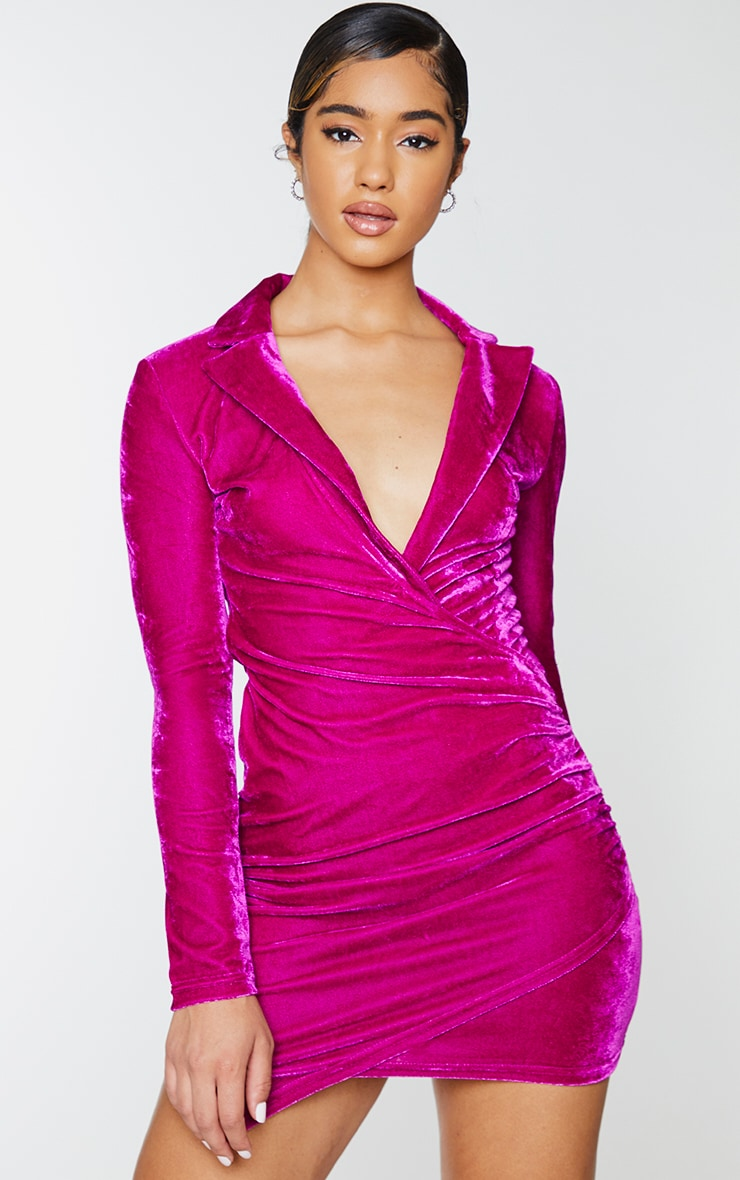 Fuchsia Velvet Long Sleeve Plunge Wrap Bodycon Dress 1