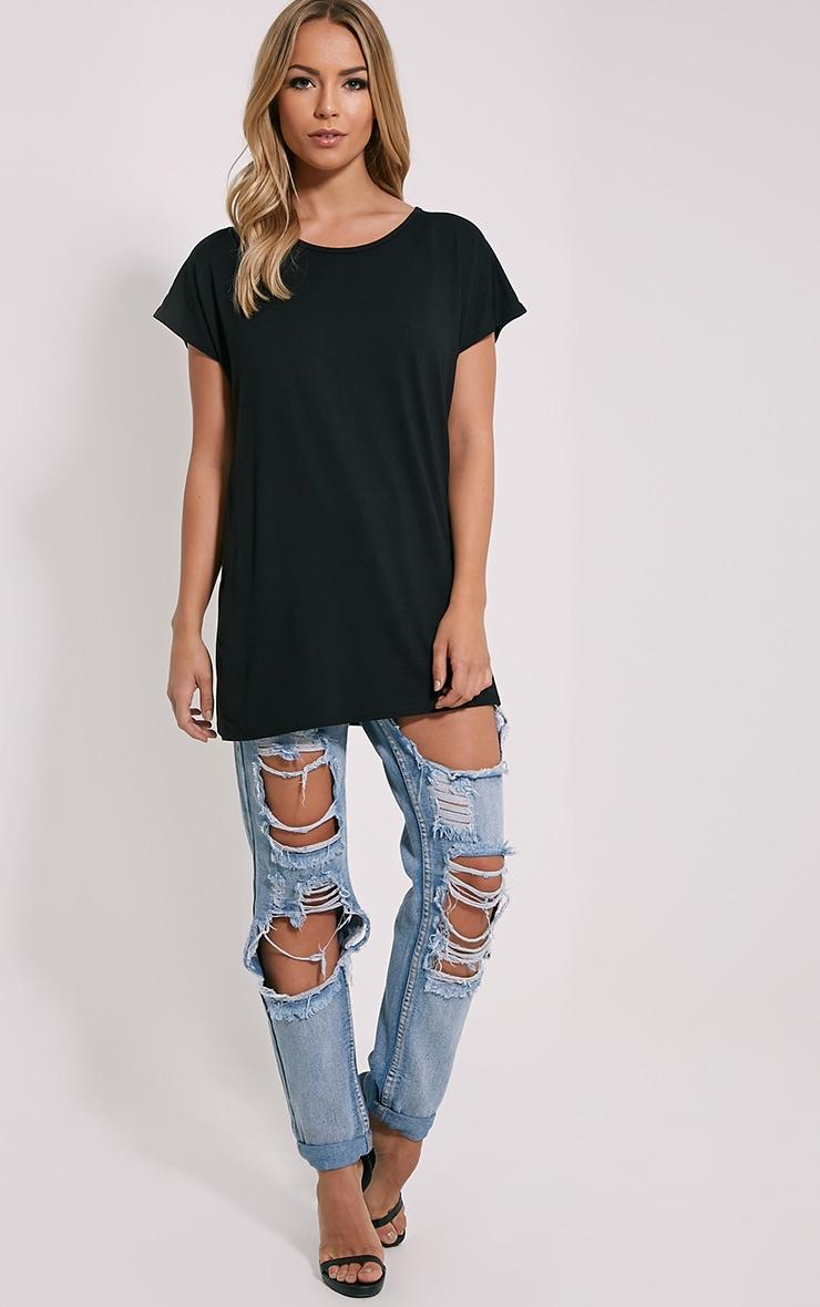 Basic t-shirt surdimensionné à col rond noir 3