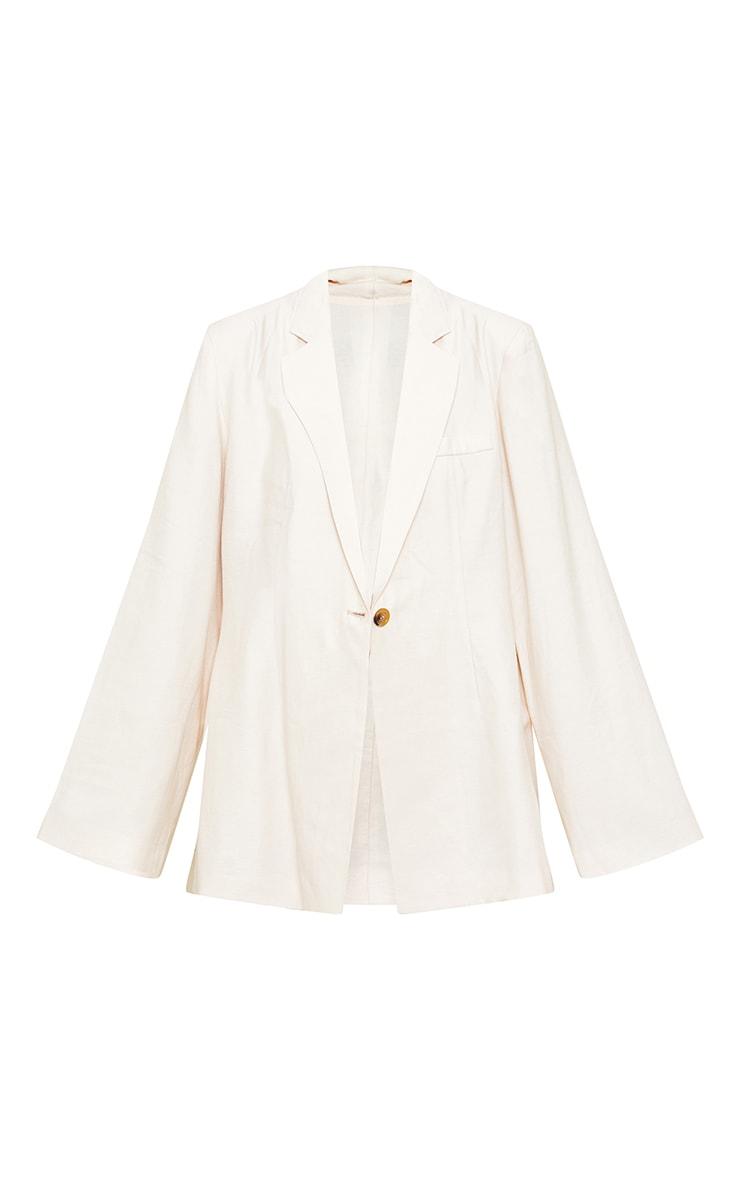 Cream Floaty Cinch Waist Shoulder Padded Longlined Blazer 5