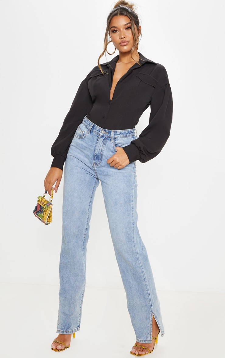 Black Pocket Front Puff Sleeve Oversized Shirt 4