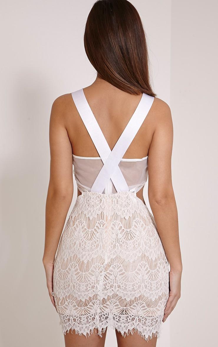 Fai White Cross Back Lace Bodycon Dress 2