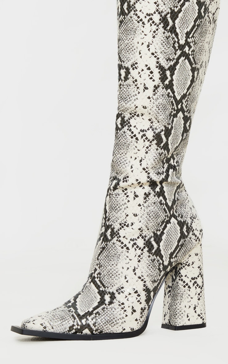 Grey Snake Square Toe Block Heel Calf Boot 4