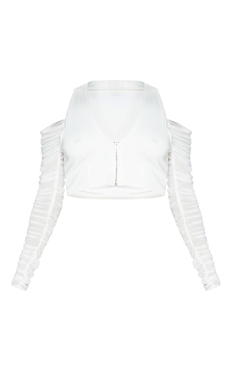 White Woven Cold Shoulder Ruched Long Sleeve Halterneck Crop Top 5