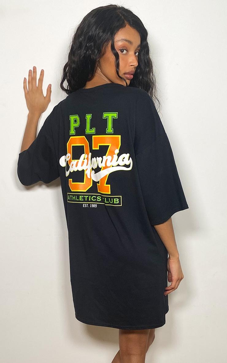 PRETTYLITTLETHING Black Athletics Club Slogan Boyfriend T Shirt Dress 1
