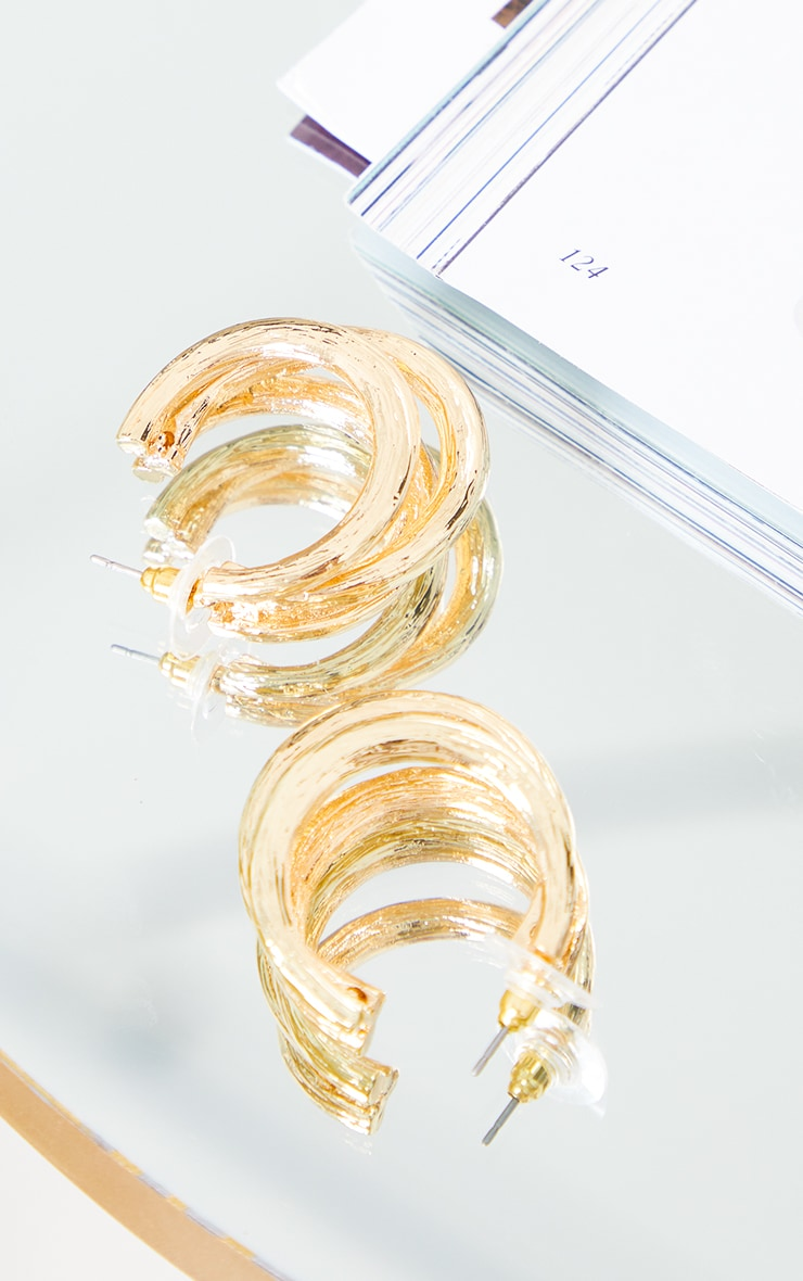 Gold Textured Cut Out Hoop Earrings 3