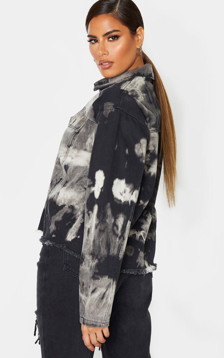 Tall Black Tie Dye Denim Jacket 2