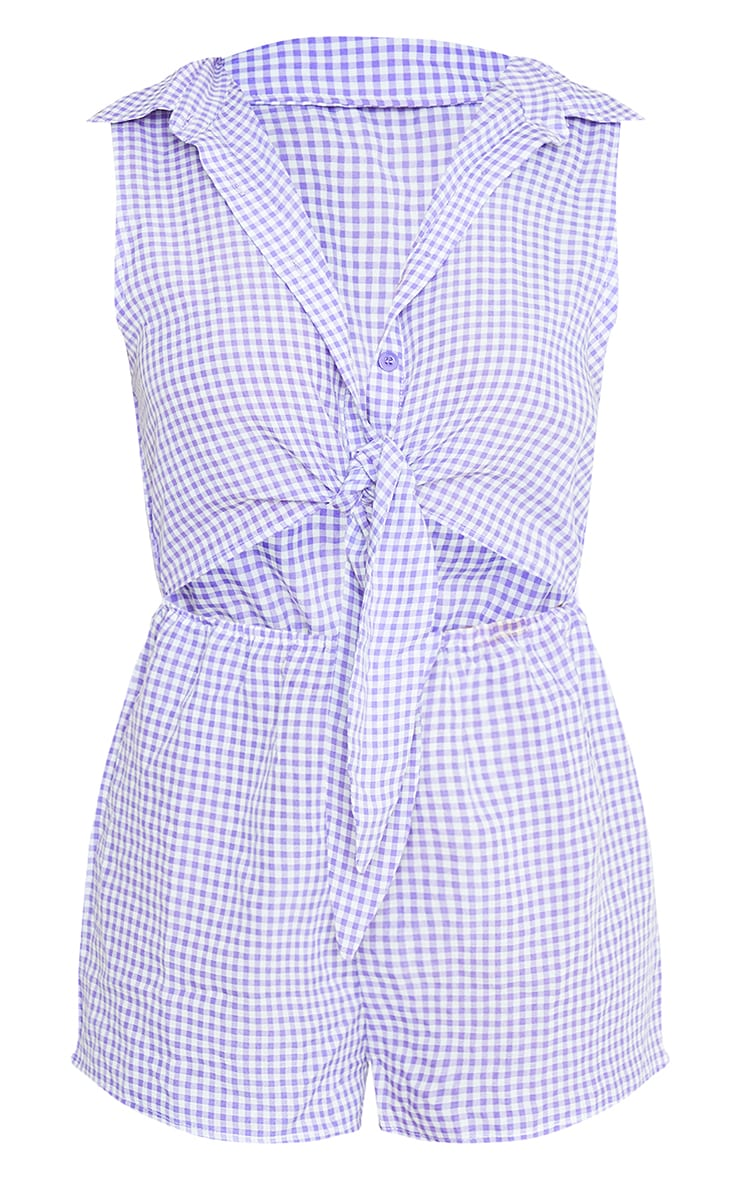 Lilac Gingham Tie Front Shirt Romper 5