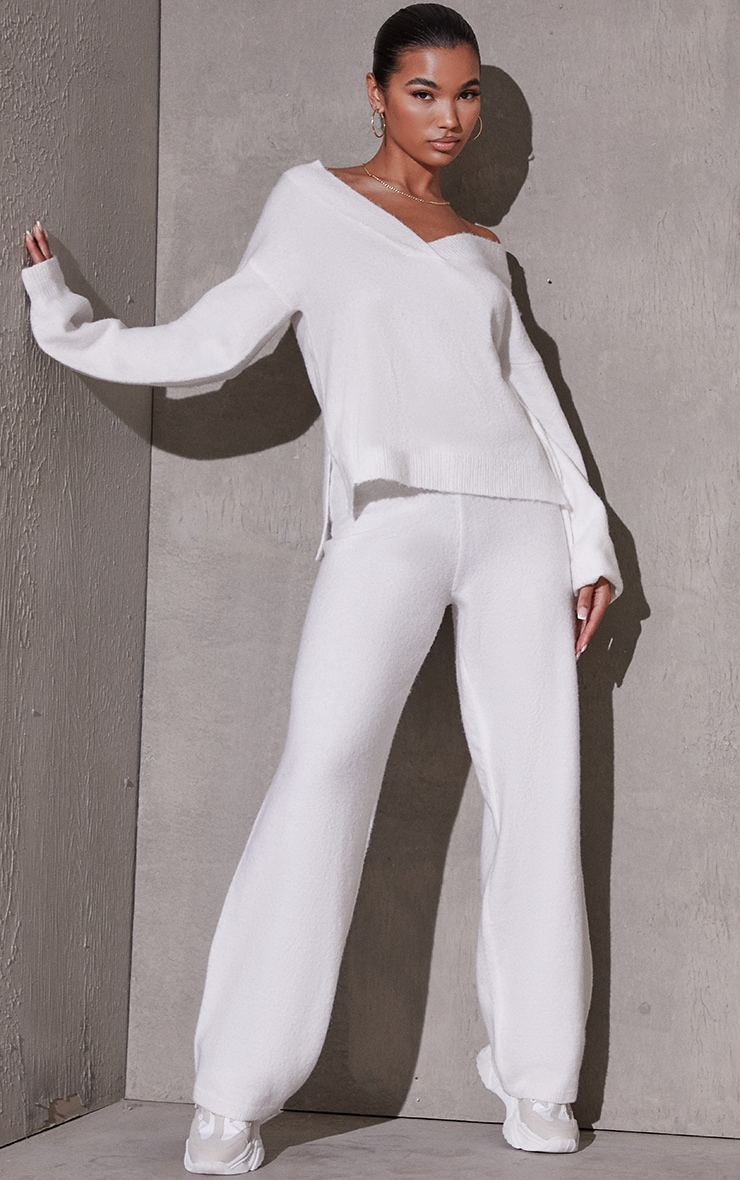 Cream Recycled Longline Sweater And Wide Leg Knitted Set 3