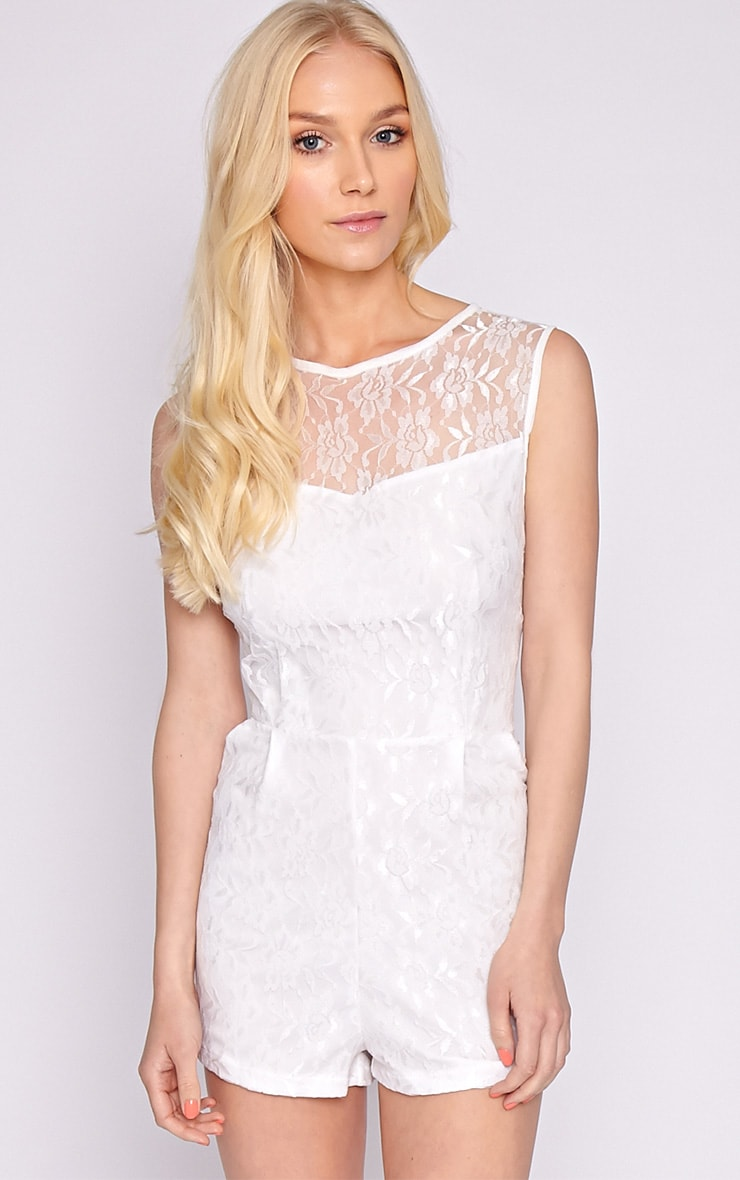 Aubree White Lace Playsuit  4