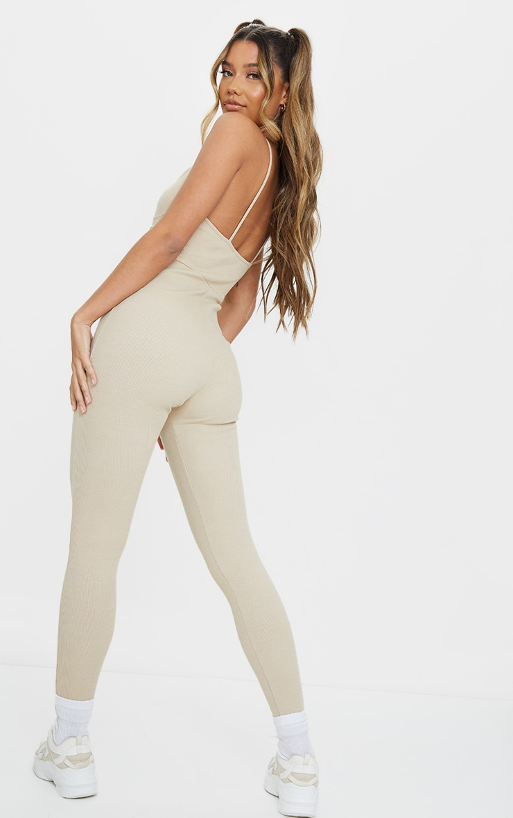 PRETTYLITTLETHING Stone Strappy Thick Rib Binding Jumpsuit 2