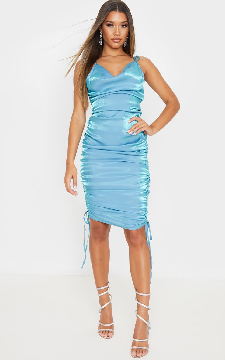 Blue Metallic Shimmer Cowl Neck Tie Strap Midi Dress 1