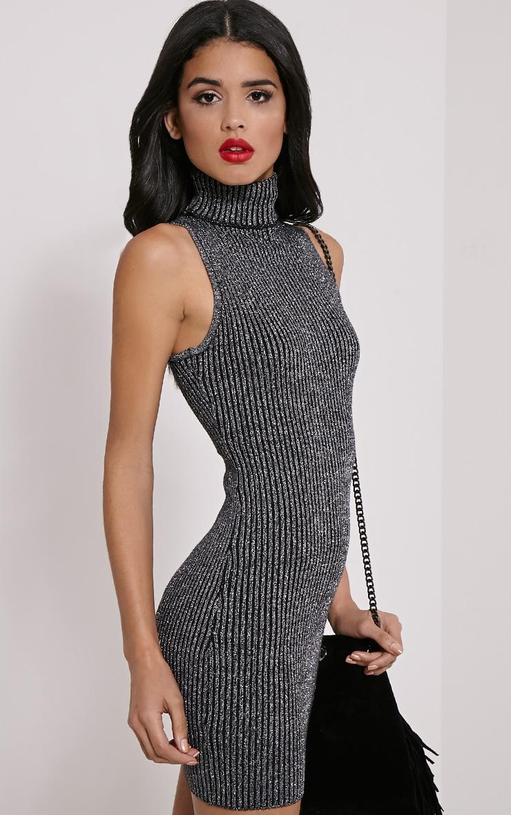 Tanya Silver High Neck Metallic Knitted Dress 4