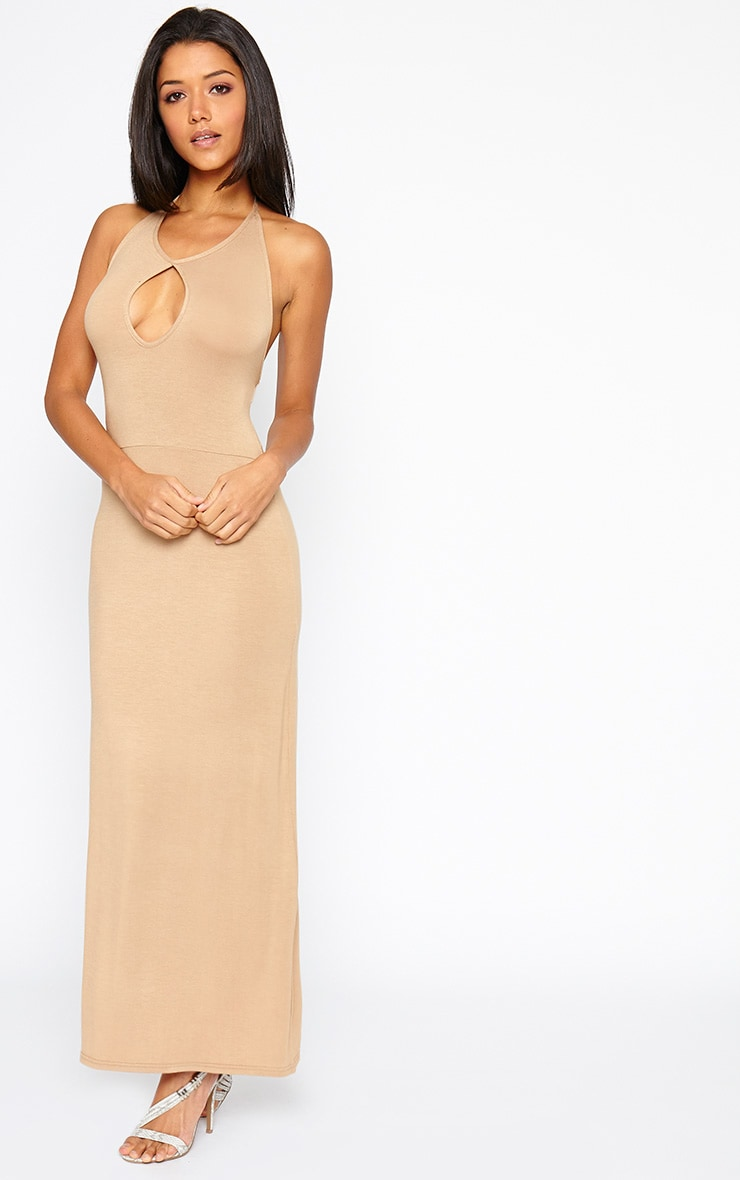 Kerry Camel Caged Back Maxi Dress 3